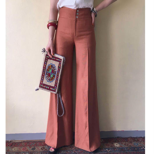 1970s linen cotton trousers