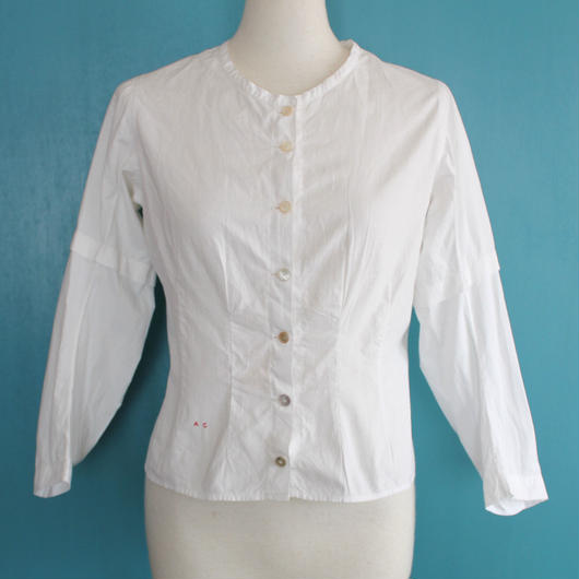 Edwardian  collarless cotton blouse