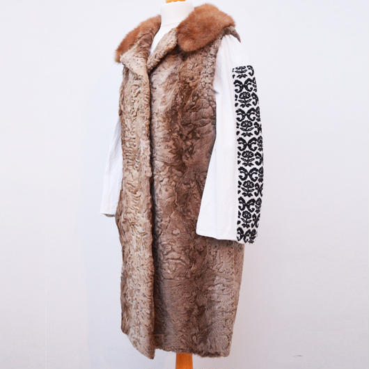 1940s / 1950s  karakul lamb fur and mink collar vest jacket