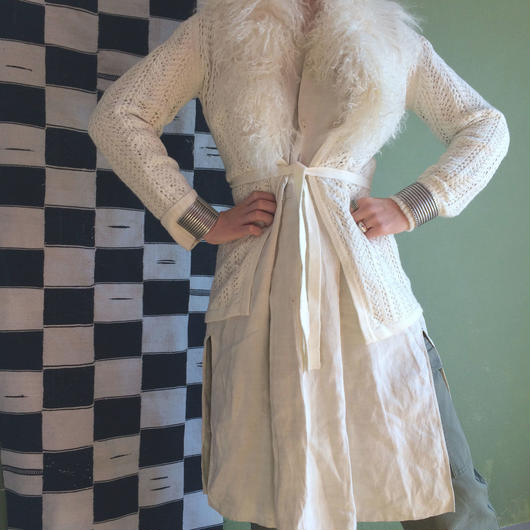 vintage lamb fur cardigan