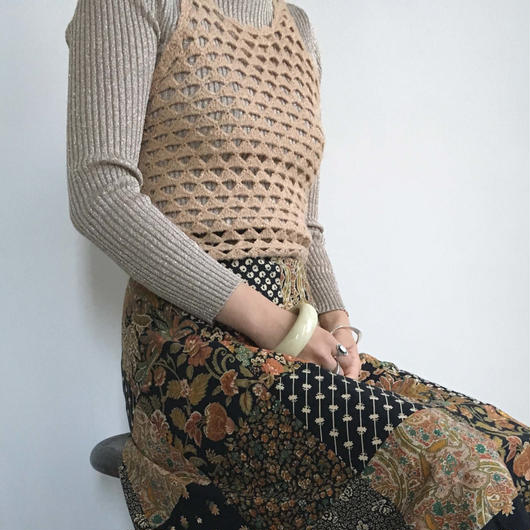 1970s gold shimmer crochet knit top