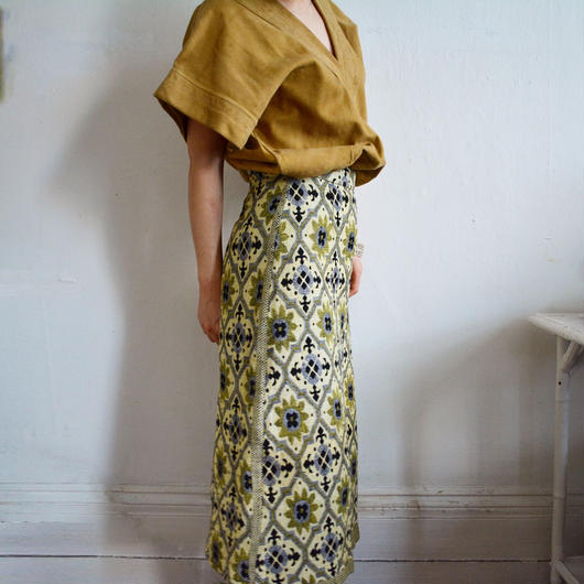 1960s flower printed tweed skirt