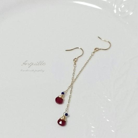 14kgf*Ruby & Lupis Luzuli Chain Earrings*