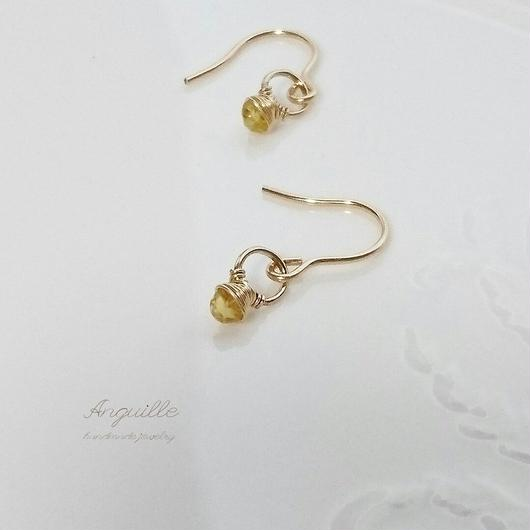 14kgf*Small Ring Series Earrings  [Yellow Sapphire]*