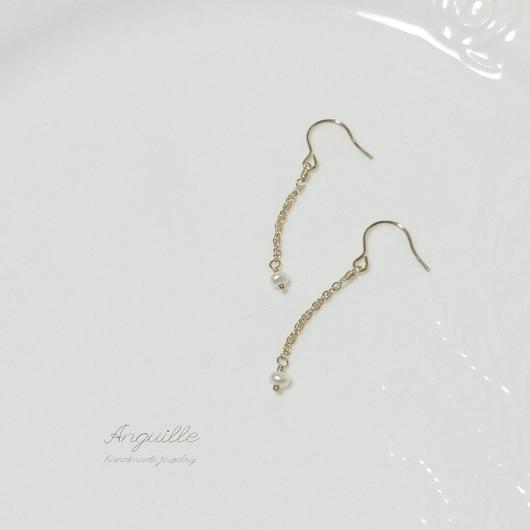 14kgf*Fresh Water Pearls Chain Earrings*