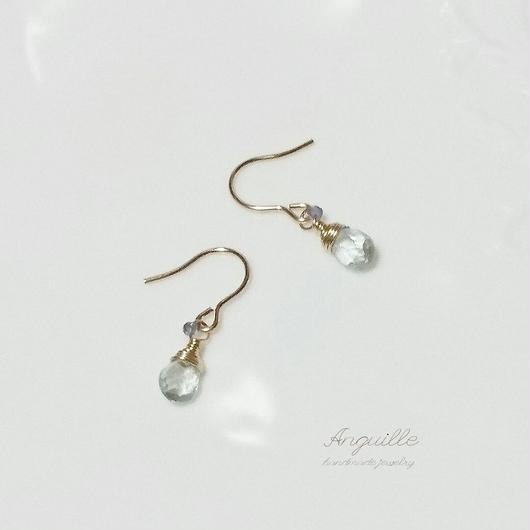 14kgf*Petite Earrings[Pear Shape Aquamarine & Iolite]*