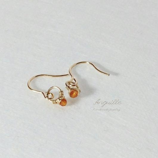 14kgf*Small Ring Series Earrings  [Carnelian]*