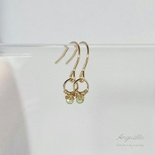14kgf*Small Ring Series Earrings  [Peridot]*