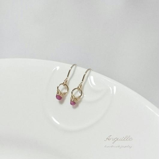 14kgf*Small Ring Series Earrings  [Ruby]*