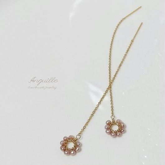 14kgf*Fresh Water Pearls Flower American Earrings*