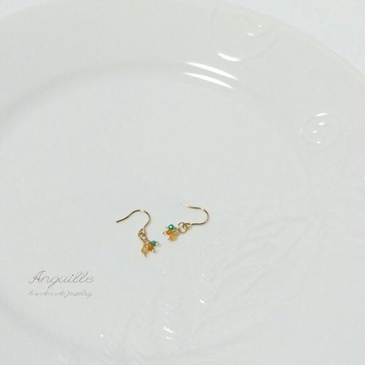 14kgf*Petite Earrings [Citrin&Carnerian&GreenOnyx(B)]*