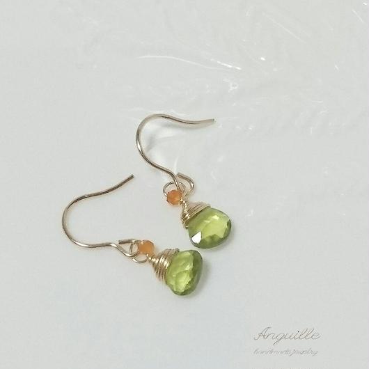 14kgf*Petite Earrings[Peridot & Carnelian]*