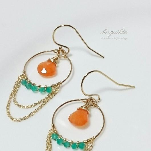 14kgf*Carnelian & Green Onyx Oriental Earrings*