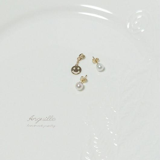 14kgf*Fresh Water Pearl Earrings (with Smile Charm)*