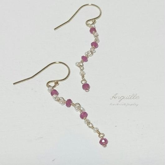 14kgf*Ruby & Fresh Water Pearls Classic Earrings*