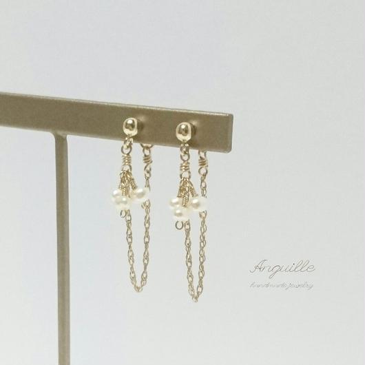 14kgf*Fresh Water Pearls Elegant Earrings*