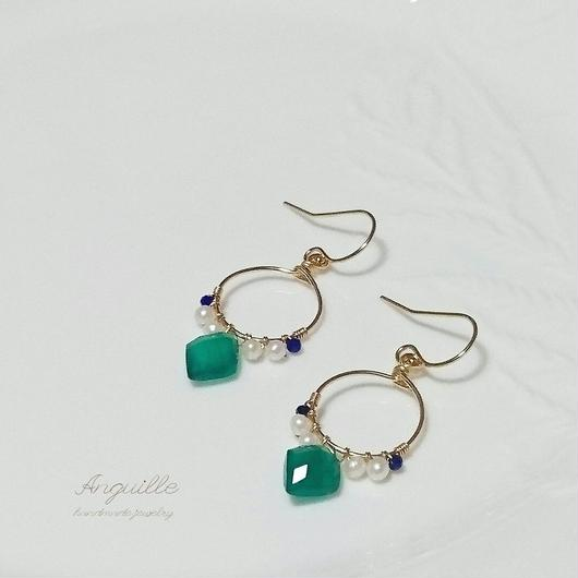 14kgf*Green Onyx & Fresh Water Pearls Circle Earrings*