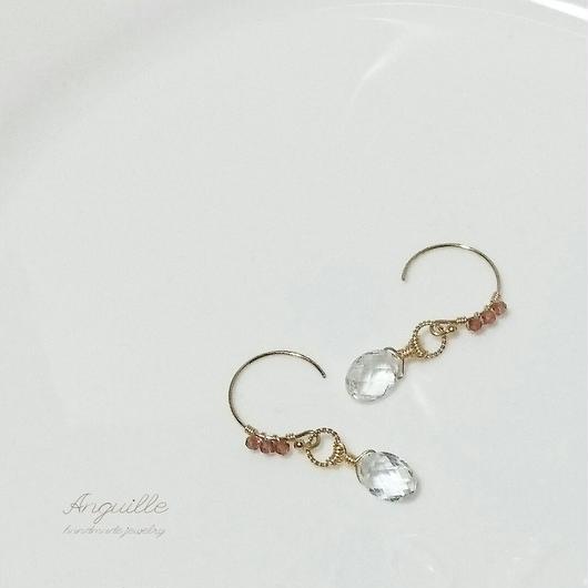 14kgf*Garnet &  White Topaz Earrings*
