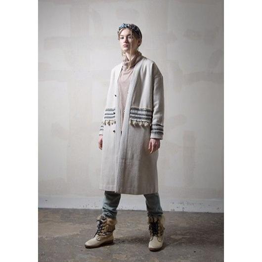 刺繍&フリンジ付きウールコート#1751026