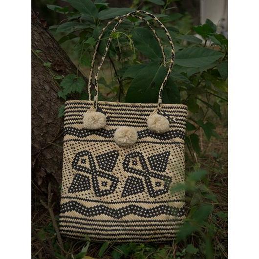 手編みかごバッグ#1878016 カリマンタンバッグポンポン付きポケット付き
