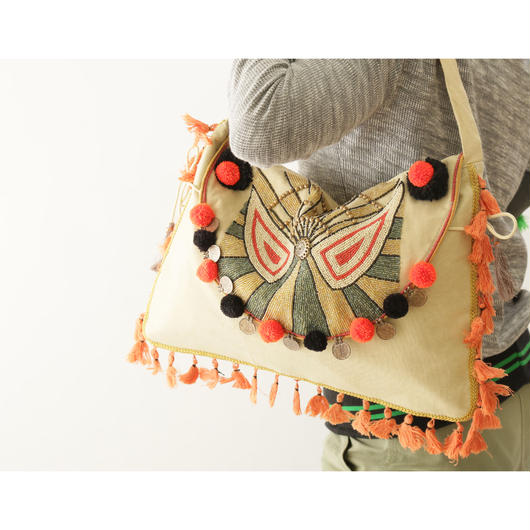 コットンキャンバスバッグ/ビーズ刺繍/タッセル/1418688