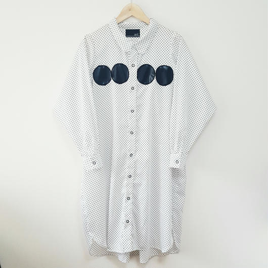 ドットロングシャツ(おとな)WHITE(ドット柄)