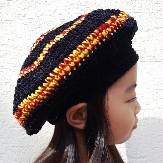 切り替えベレー帽(こども)BLACK