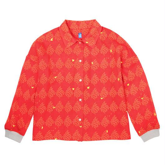 衿付き長袖ブラウス 森とムクドリ(赤)
