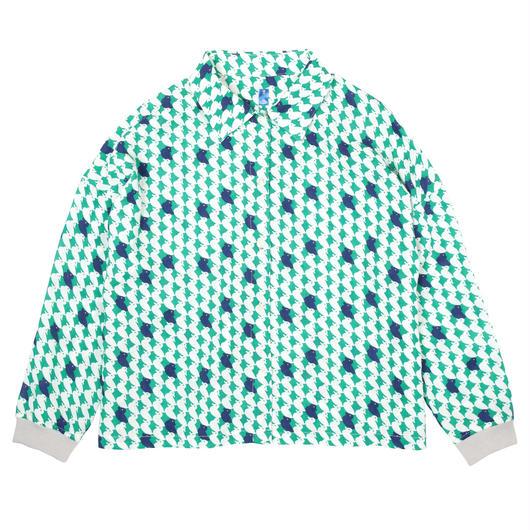 衿付き長袖ブラウス 鴨(緑)