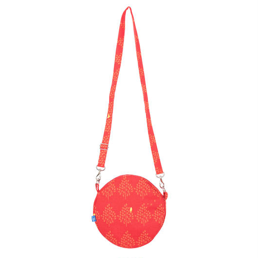 満月ポシェット 森とムクドリ(赤)