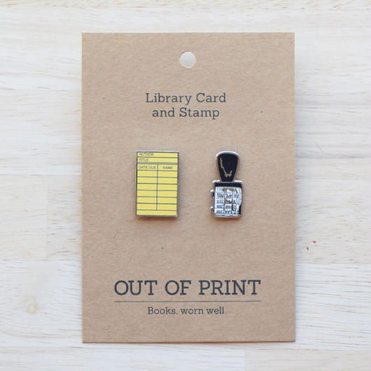 OUT OF PRINT LIBRARY CARD ENAMEL PIN SET