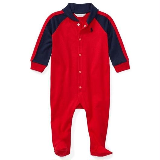 POLO RALPH LAUREN BABY ALL IN ONE EMB REDxNAVY / ポロラルフローレン ベビー ロンパース レッドxネイビー