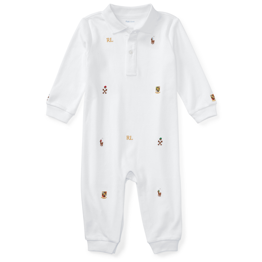 POLO RALPH LAUREN BABY ALL IN ONE EMB WHITE / ポロラルフローレン ベビー ロンパース ホワイト