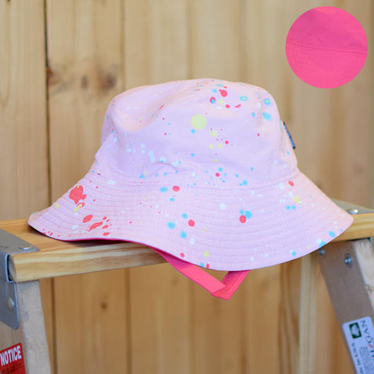 PATAGONIA  BABY SUN BUCKET HAT SEQUOIA SPLATTER/FEATHER PINK