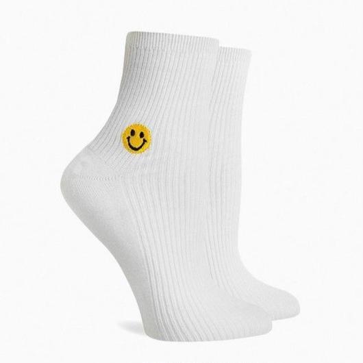 RICHER POORER WOMEN'S ANKLE SOCKS ''SMILE'' WHITE / リッチャープアラー レディース アンクルソックス 靴下 スマイル ホワイト