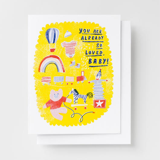 "YELLOW OWL WORKSHOP RISOGRAPH PRINT CARD""LOVED BABY""/ イエロー・オウル・ワークショップ リソグラフプリントカード"