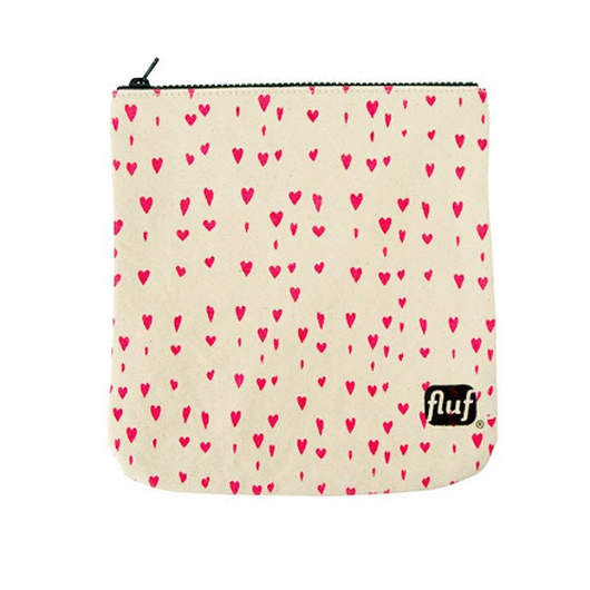 FLUF ZIP POUCH HEARTS PINK / フラフ ジップポーチ ハートピンク