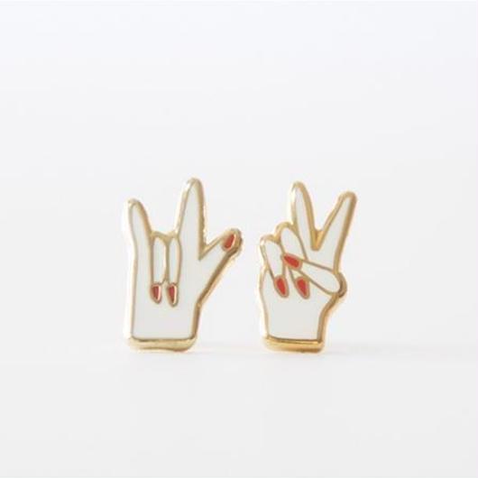 YELLOW OWL WORKSHOP 22k GOLD EARRINGS #J206 PEACE & LOVE / イエロー・オウル・ワークショップ  22金 ピアス