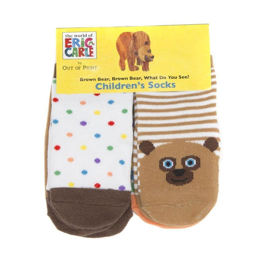 Out of Print Brown Bear 4pc Baby Socks / アウトオブプリント くまさん くまさん なにみてるの? ベビー ソックス 4足セット