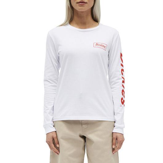 DICKIES GIRL LOGO L/S TEE WHITE/RED / ディッキーズ ガール ロゴ 長袖 Tシャツ ロンT ホワイト/レッド