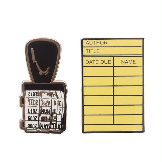 Out of Print Library Card Pins Set / アウトオブプリント ライブラリーカード ピンズ 2個セット
