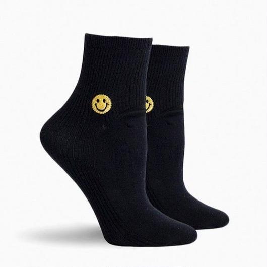 RICHER POORER WOMEN'S ANKLE SOCKS ''SMILE'' BLACK / リッチャープアラー レディース アンクルソックス 靴下 スマイル ブラック