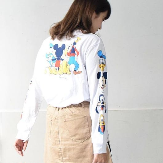DISNEY MICKEY MOUSE FRIENDS L/S T-SHIRTS WHITE / ディズニー アメリカ限定 ミッキーマウス 長袖 Tシャツ ロンT ホワイト