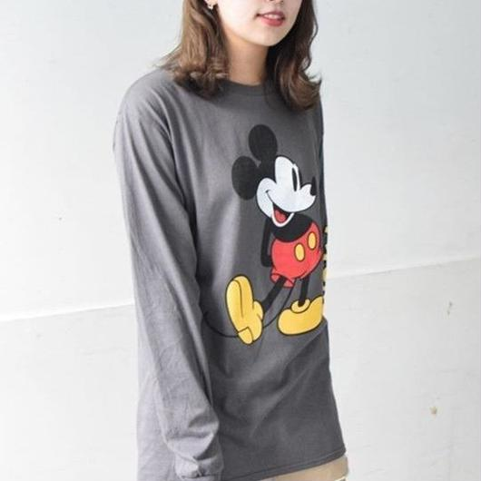DISNEY MICKEY MOUSE L/S T-SHIRTS CHARCOAL GREY / ディズニー アメリカ限定 ミッキーマウス 長袖 Tシャツ ロンT チャコールグレー