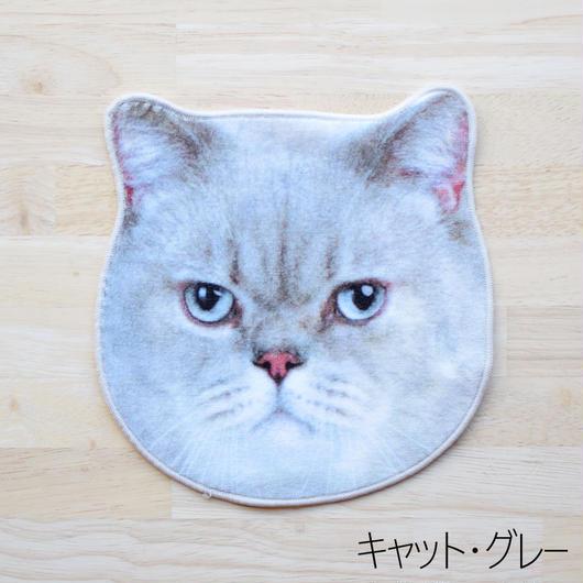 REALISTIC MOTIF TOWEL CAT/リアルモチーフハンドタオル キャット・グレー
