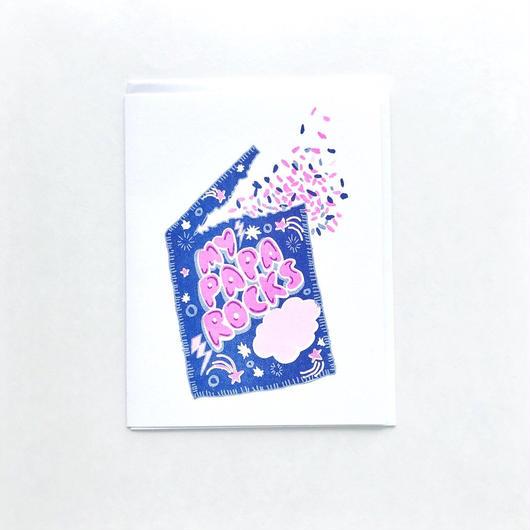 "YELLOW OWL WORKSHOP RISOGRAPH PRINT CARD""PAPA ROCKS""/ イエロー・オウル・ワークショップ リソグラフプリントカード"