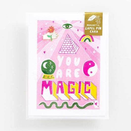 "YELLOW OWL WORKSHOP 22k GOLD LAPEL PIN CARD ""YOU ARE MAGIC "" / イエロー・オウル・ワークショップ  22金 ラペルピンカード"