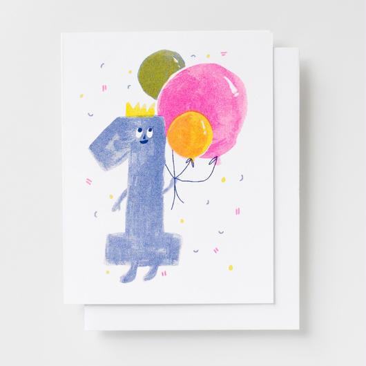 "YELLOW OWL WORKSHOP RISOGRAPH PRINT CARD""BIRTHDAY1""/ イエロー・オウル・ワークショップ リソグラフプリントカード"