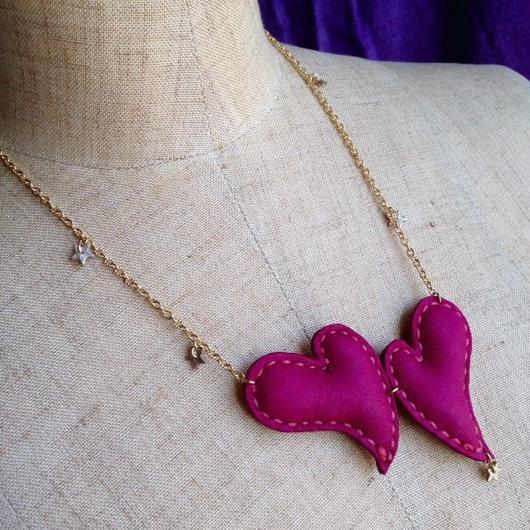 ハートのネックレス「ピンク」