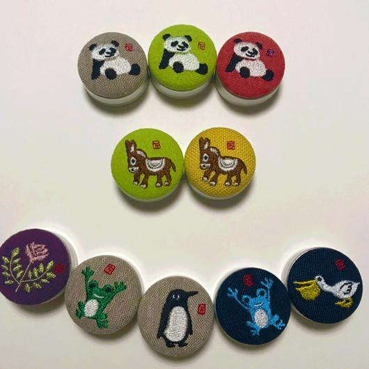 はんこ図案の刺繍雑貨:ねりけしケース(オリジナル1点もの!)